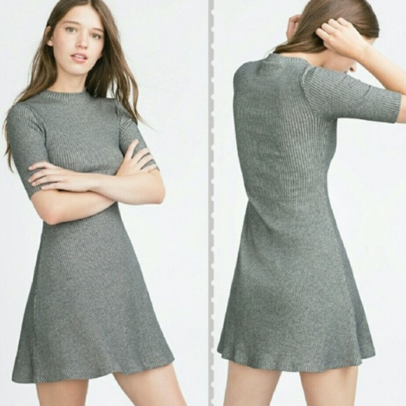 e52b4ed34126 Zara Dresses | Trafaluc Gray Ribbed Mock Neck Swing Dress M | Poshmark